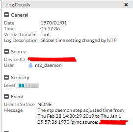 "Fortigate System events ""The NTP daemon step adjusted time from Thu"